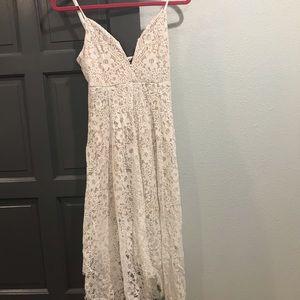 Boohoo White &Nude Lace Midi Dress